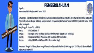 Pengumuman Pelepasan Simbolis Mahasiswa KKN Angkatan XIII Tahun 2018